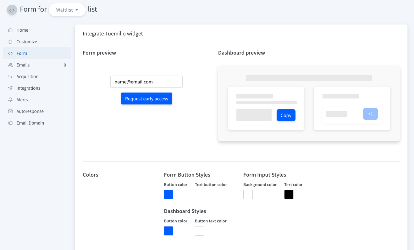 Customize Form and Dashboard colors
